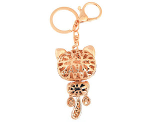 Rhinestone Cat Keychain in 18K Gold Plating - Florence Scovel - 2