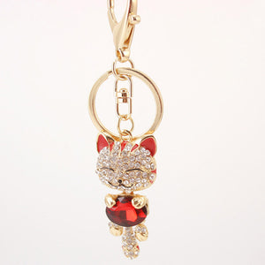 Rhinestone Cat Keychain in 18K Gold Plating - Florence Scovel - 3