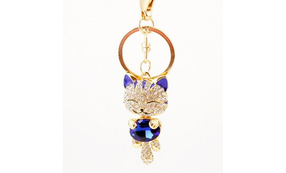 Rhinestone Cat Keychain in 18K Gold Plating - Florence Scovel - 4