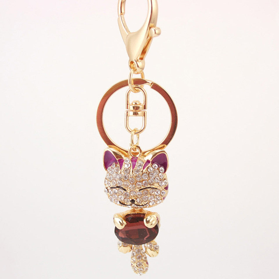 Rhinestone Cat Keychain in 18K Gold Plating - Florence Scovel - 6