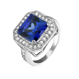 Sapphire Cocktail Ring with CZ Side Stones Rhodium Over Brass - Florence Scovel