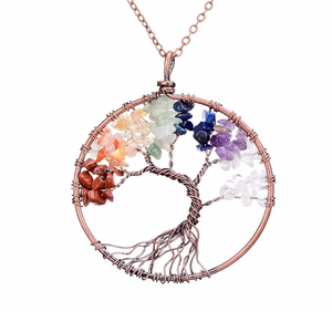 Seven Chakra Crystal Stone Tree Of Life Copper Necklace