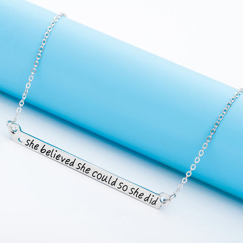 She Believed She Could So She Did Bar Necklace - Florence Scovel - 1