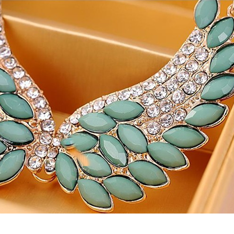 Turquoise Beads Angel Wing Statement Necklace - Florence Scovel - 3