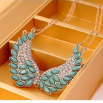 Turquoise Beads Angel Wing Statement Necklace - Florence Scovel - 4