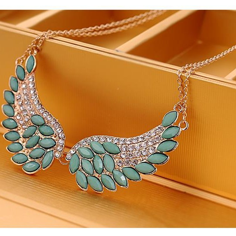 Turquoise Beads Angel Wing Statement Necklace - Florence Scovel - 5