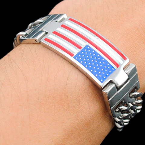Double Link Chain Men's Bracelet With American Flag