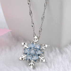 Blue Crystal Snowflake Zircon Flower Silver Necklaces & Pendant - Florence Scovel - 1