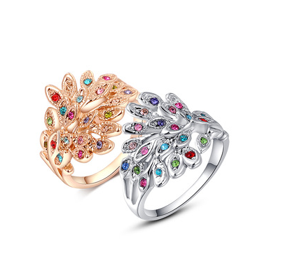 Austrian Crystal Peacock Ring - Florence Scovel