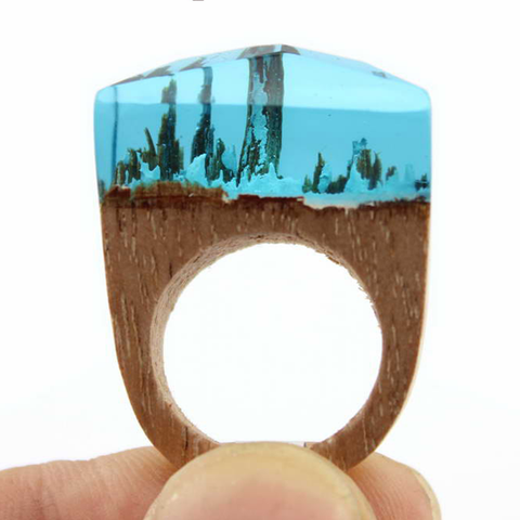 Aqua Snow Wood Ring - Florence Scovel