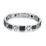 Silver on Black Stainless Steel Men's Bracelet - Florence Scovel - 1