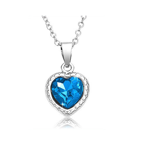 "Rhodium Plated Blue Heart Pendant with 18"" Chain - Florence Scovel"