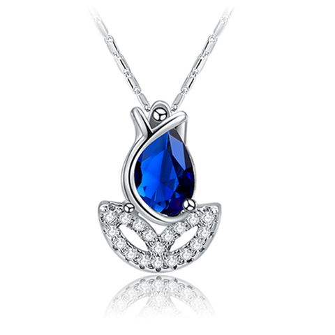 Blue Rose Flower Necklace - Florence Scovel - 1