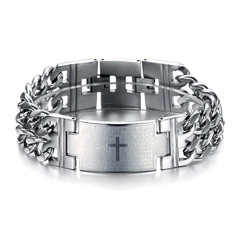 Bold Cross Stainless Steel Men's Bracelet - Florence Scovel