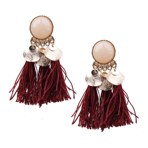 Pearl Sequin Tassel Earrings