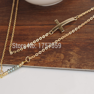 Two Layer Crystal Cross Necklace - Florence Scovel - 2