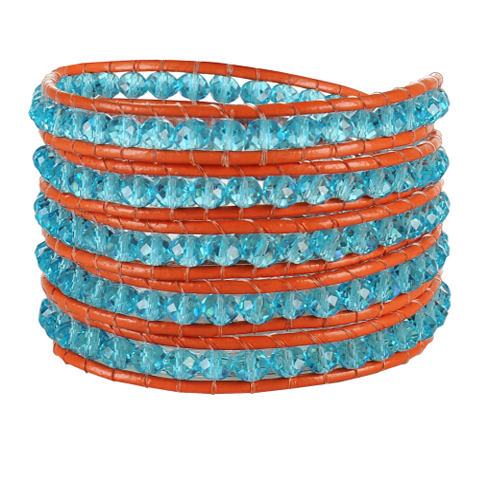 Crystal Blue Beads on Red Leather Wrap Bracelet