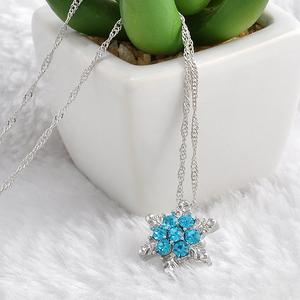 Blue Crystal Snowflake Zircon Flower Silver Necklaces & Pendant - Florence Scovel - 2