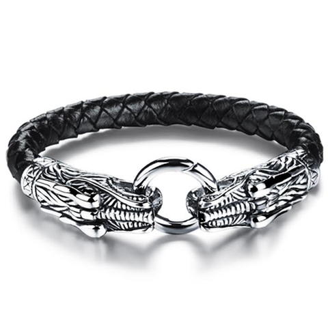 Game Of Thrones Inspired Double Dragon Stainless Steel Men's Bracelet - Florence Scovel - 1