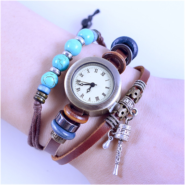 Turquoise Beads Leather Watch - Florence Scovel - 2