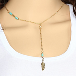 Turquoise Feather Beaded Pendant - Florence Scovel