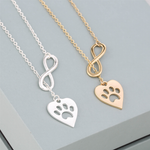 Paw Infinity Love Pendant Necklace