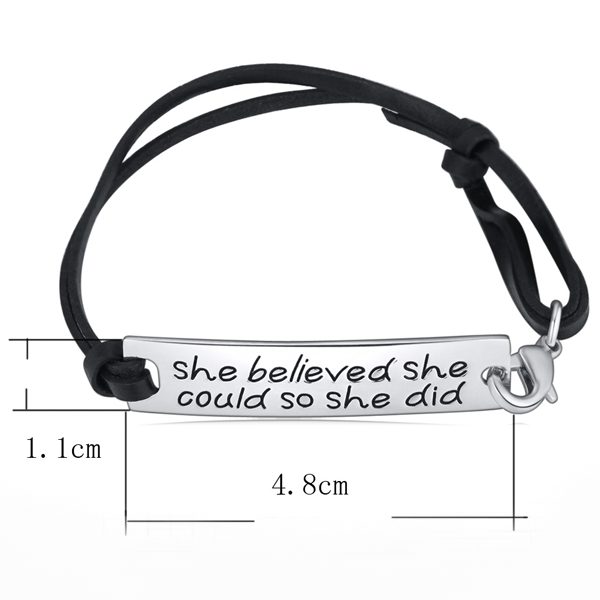 She Believed She Could So She Did Hand Stamped Bracelet - Florence Scovel - 2