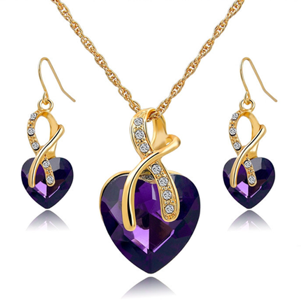 Crystal Gem Heart Necklace Set - Florence Scovel - 4