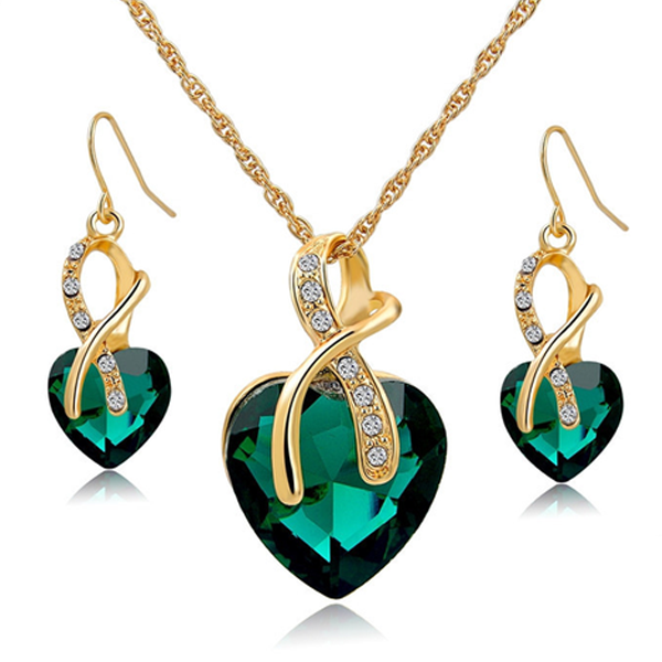 Crystal Gem Heart Necklace Set - Florence Scovel - 3