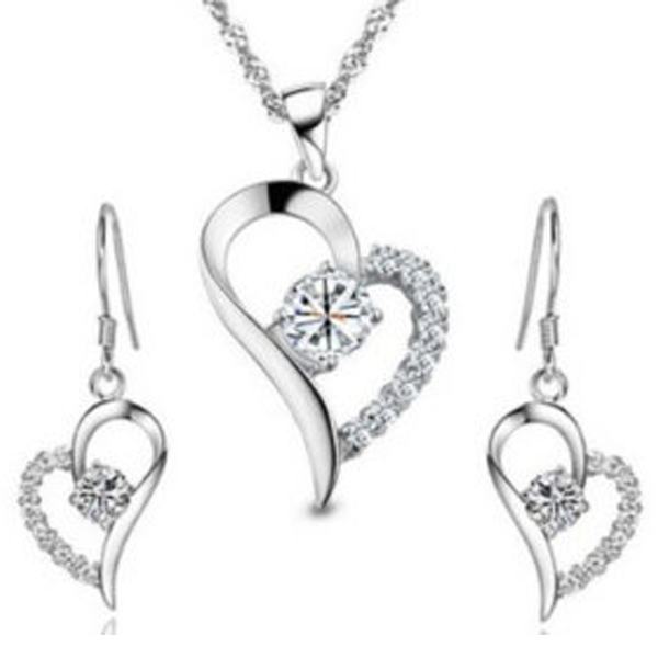 Crystal Heart Pendant Set - Florence Scovel