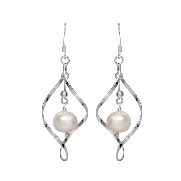 Pearl Dangle Earrings in Sterling Silver