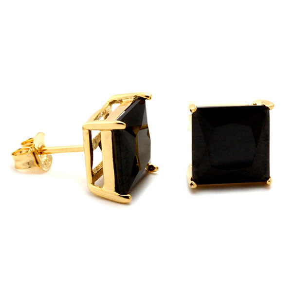Gold and Black Princess Cut Studs - Florence Scovel