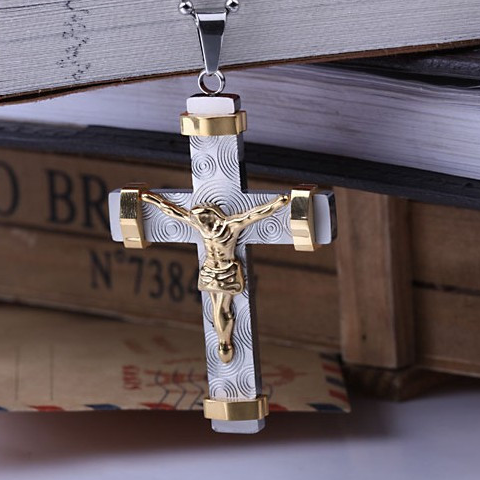 24K Gold Plated Two Tone Cross Pendant - Florence Scovel - 1