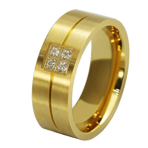 Gold Titanium Steel Band Ring