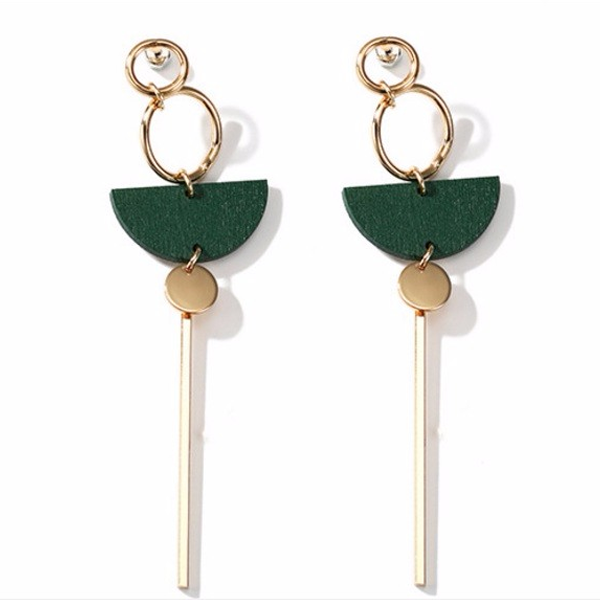 Green Wood Earrings