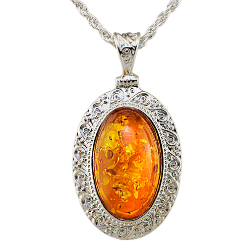Oval Honey Pendant Silver Necklace - Florence Scovel - 1