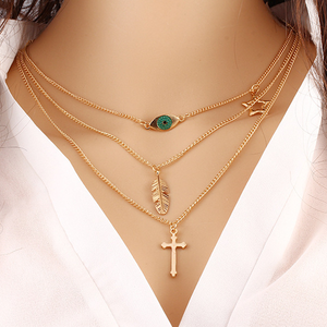 Eye Leaf Cross Necklace - Florence Scovel