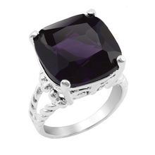 Silver Plated Cushion Cut 15mm Midnight Purple Cocktail Ring with Cable Split Shank - Florence Scovel - 2