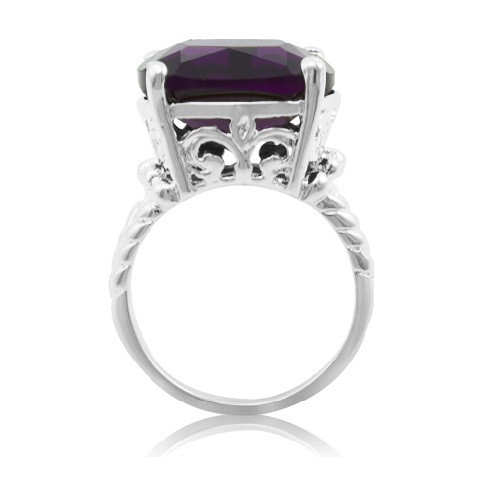 Silver Plated Cushion Cut 15mm Midnight Purple Cocktail Ring with Cable Split Shank - Florence Scovel - 1