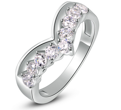 Platinum Plated Heart Curve Ring - Florence Scovel - 1