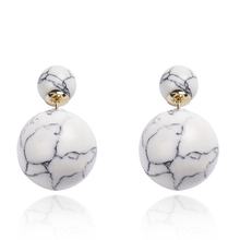 Double Side Marble Ball Earrings