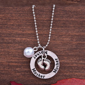 Precious Baby Footprints Round Pendant Necklace