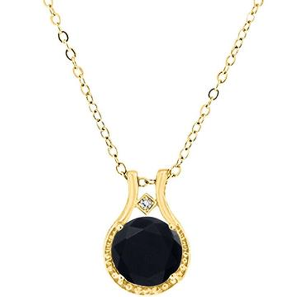 Diamond and Black Onyx Halo Pendant in 14k Yellow Gold