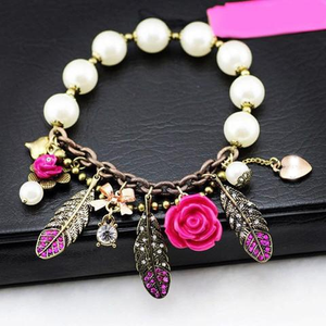 Pink Flower Feather Pearl Stretch Bracelet - Florence Scovel - 1
