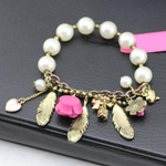 Pink Flower Feather Pearl Stretch Bracelet - Florence Scovel - 2