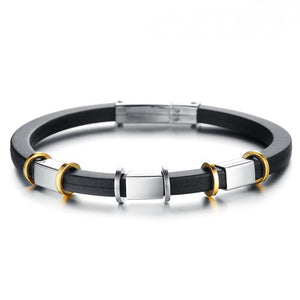 Punk Gold Stainless Steel Black Genuine Silicone Men's Bracelet - Florence Scovel - 1