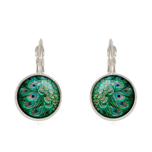 Round Peacock Feather Stud Earrings