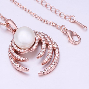 Pearl Diamond Rose Gold Necklace - Florence Scovel - 3