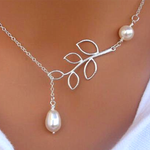 Leaf Pearl Necklace - Florence Scovel - 2