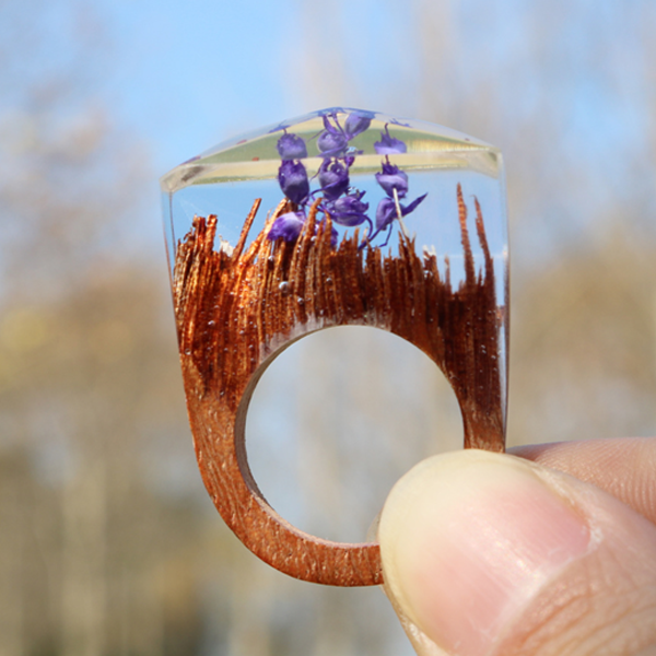 Purple Flower Wood Ring - Florence Scovel - 2